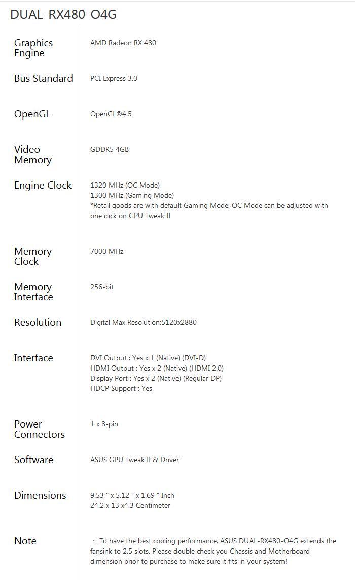 ASUS 華碩 DUAL-RX480-O4G-GAMING 顯示卡