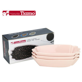 【Tiamo】 三角形咖啡生豆盤三入裝 粉紅色 HG9281