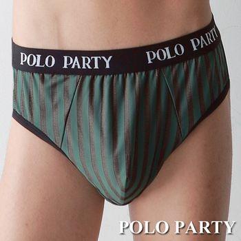 【POLO PARTY】 銀纖維男性三角條紋內褲-綠色