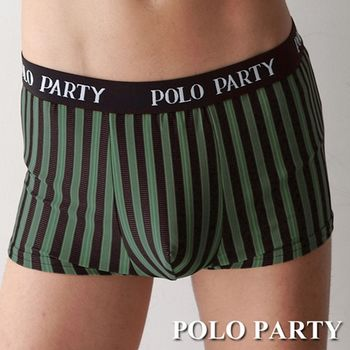 【POLO PARTY】 銀纖維男性四角條紋內褲-綠色