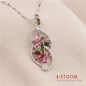 石頭記花馨風情碧璽晶鑽純銀項鍊