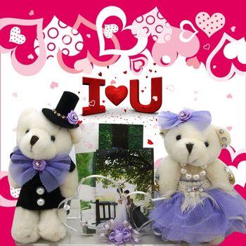 (婚禮小物)絨布蓬裙情侶熊謝卡座--紫色(LED燈)