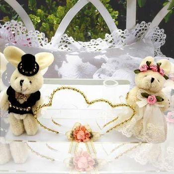 (婚禮小物)絨布蓬裙婚紗兔謝卡座