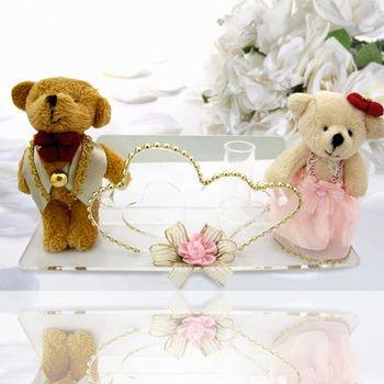 (婚禮小物)絨布蓬裙紅領熊謝卡座