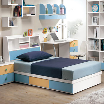 【MiCasa-藍色天地】3.5尺單人床頭箱+抽屜床座(不含床墊)