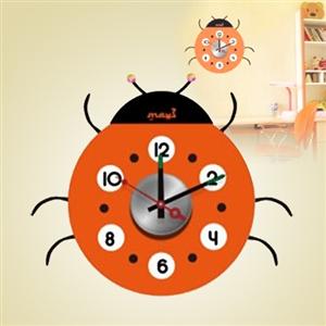 【日本Wall-Deco】創意壁貼時鐘-大頭瓢蟲