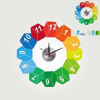 【日本Wall-Deco】創意壁貼時鐘 調色盤