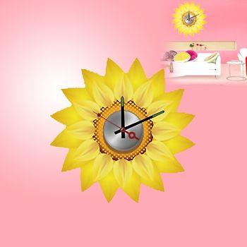 【日本Wall-Deco】創意壁貼時鐘 向日葵
