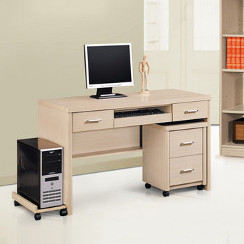 【MiCasa-白橡典雅】4.2尺電腦桌(全組)