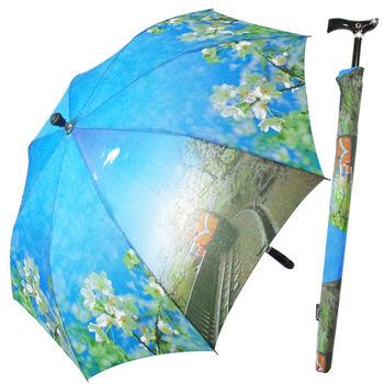 阿里山櫻花風情自動拐杖傘+三折傘超值2入組
