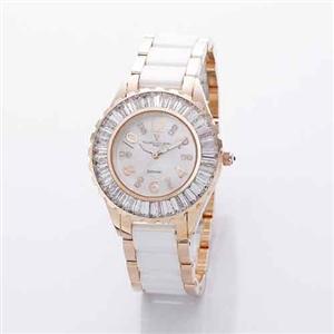 范倫鐵諾玫瑰金晶鑽時尚腕錶