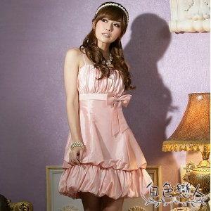 【白色戀人中大尺碼】 嫩粉紅雅緻高腰胸前抓皺花苞式小禮服