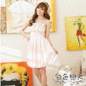 【白色戀人中大尺碼】粉色迷魅光影高腰蛋糕裙擺晚宴型小禮服
