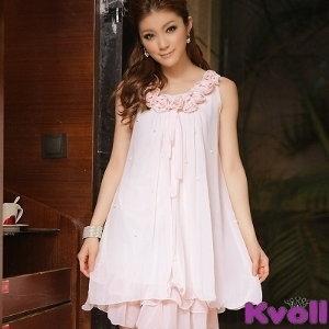 【KVOLL中大尺碼】粉紫色歐美名媛花蕾滿天星雪紡洋裝