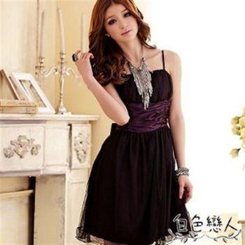 【白色戀人中大尺碼】紫色甜美夢幻迷你波浪雙層小禮服