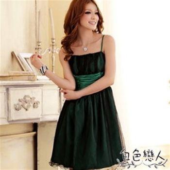 【白色戀人中大尺碼】綠色甜美夢幻迷你波浪雙層小禮服