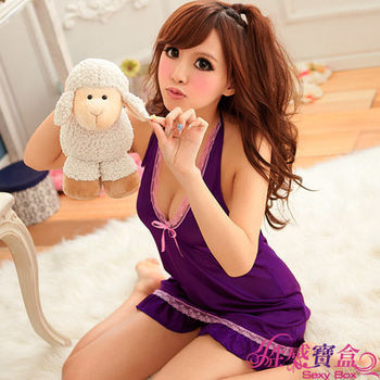 【Ayoka】愛戀薰衣!浪漫柔緞綁帶睡襯衣