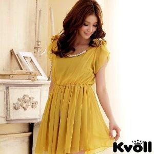 【KVOLL中大尺碼】黃色蝴蝶結時尚珠鍊小洋裝