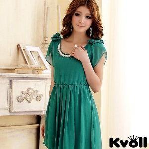 【KVOLL中大尺碼】綠色蝴蝶結時尚珠鍊小洋裝