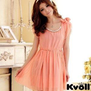 【KVOLL中大尺碼】粉色蝴蝶結時尚珠鍊小洋裝
