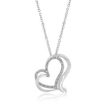 Love 21 交織鋯石心型吊墜項鍊