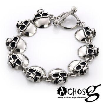 ACHOS【Skulls水晶骷髏B】潮流西德鋼手環