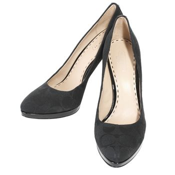 COACH 織布前厚底皮革底高跟鞋黑(7.5M)