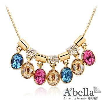 【A'bella浪漫晶飾】夢彩鈴水晶-金色彩虹項鍊