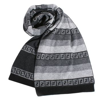 FENDI 雙F logo三色漸層羊毛圍巾(灰)