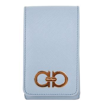 Ferragamo NEW JEANS防刮皮革環扣裝飾翻蓋手機套(水藍)