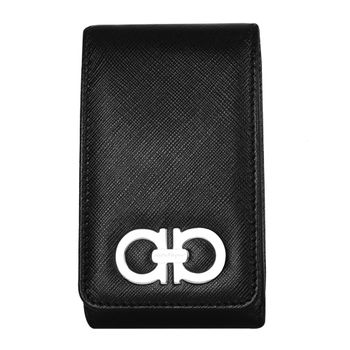 Ferragamo NEW JEANS防刮皮革環扣裝飾翻蓋手機套(黑)