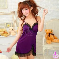 戀戀紫蝶!柔緞睡東森購物襯裙