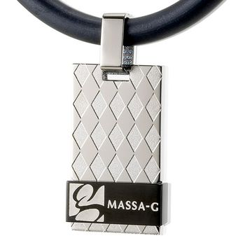MASSA-G Deco純鈦系列【菱格經典-黑色菱格】鍺鈦項鍊