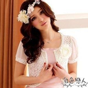 【白色戀人中大尺碼】白色高雅時尚華麗網花披肩小外套(K-4410)網