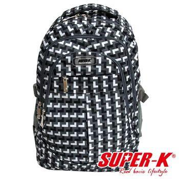 【SUPER-K】經典格紋後背包-SHB21496-黑/白