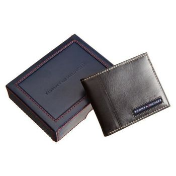 Tommy Hilfiger 男劍橋薄型黑色皮夾