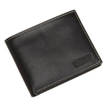 NAUTICA 男時尚植鞣黑色皮夾