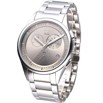 cK 經典紳士風三眼計時腕錶