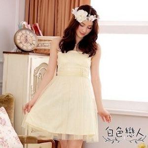 【白色戀人】香檳色釘珠平口性感網紗小禮服JK- 4427
