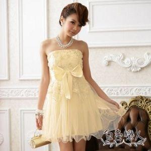 【白色戀人】香檳色甜美網花大蝴蝶結夢幻小禮服JK-4229