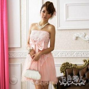 【白色戀人】粉色甜美網花大蝴蝶結夢幻小禮服JK-4229