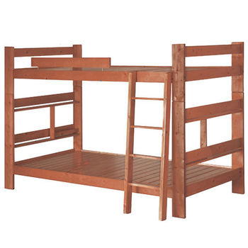 MiCasa書架型柚木色單人3.5尺雙層床