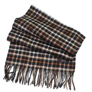 DAKS經典格紋喀什米爾圍巾(黑色)