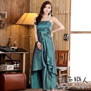 【白色戀人中大尺碼】孔雀綠色唯美壓折長版禮服 JK-4435