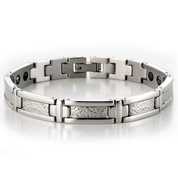 MASSA-G 銀色世紀白鋼健康手環