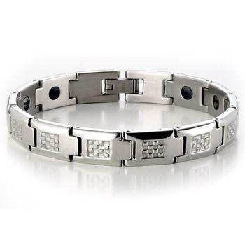 MASSA-G 銀色簡約白鋼健康手環