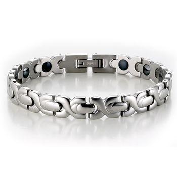 MASSA-G 銀色時刻白鋼健康手環