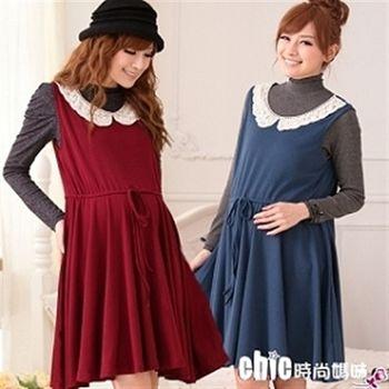【時尚媽咪】古典風格蕾絲編織領邊背心洋裝(共二色)DK-077