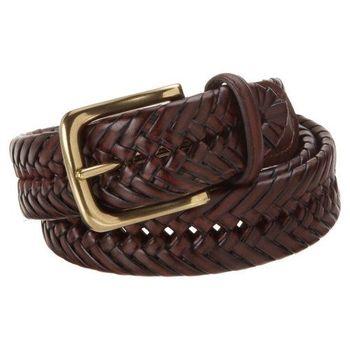 Tommy Hilfiger 2012男時尚編織深棕色皮帶