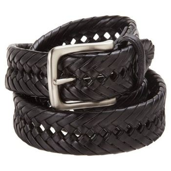Tommy Hilfiger 2012男時尚編織黑色皮帶
